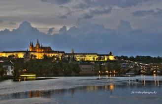 Vltava River and Prague Castle in the evening, Prague, Czech Republic