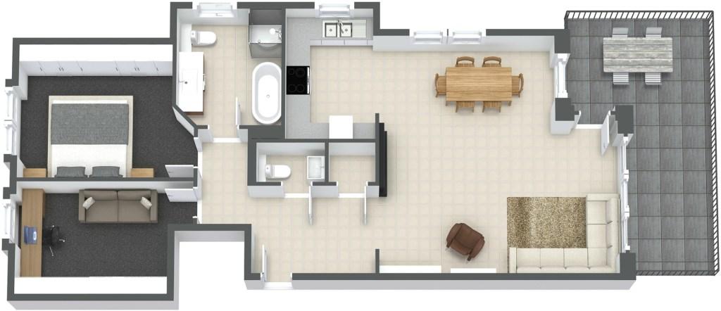3D floorplan moebliert 360°-3D-Virtual-Tours – interaktive virtuelle Besichtigungen und Objekt-Rundgänge aus der Ferne, als wäre man selber dort.
