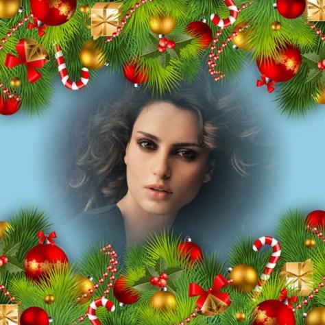 Montajes de fotos con adornos navideños.
