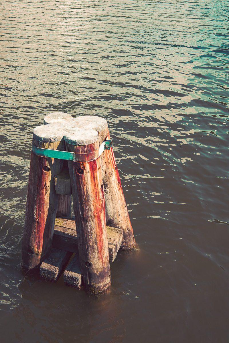 Holzpflocken im Meer - Maritimes Bild