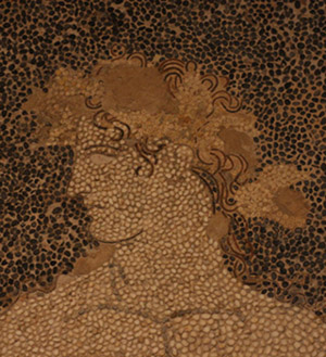 Fragment mozaiki przedstawiającej Dionizosa na lamparcie, widoczne zastosowanie pasków ołowiu dla podkreślenia ułożenia włosów
