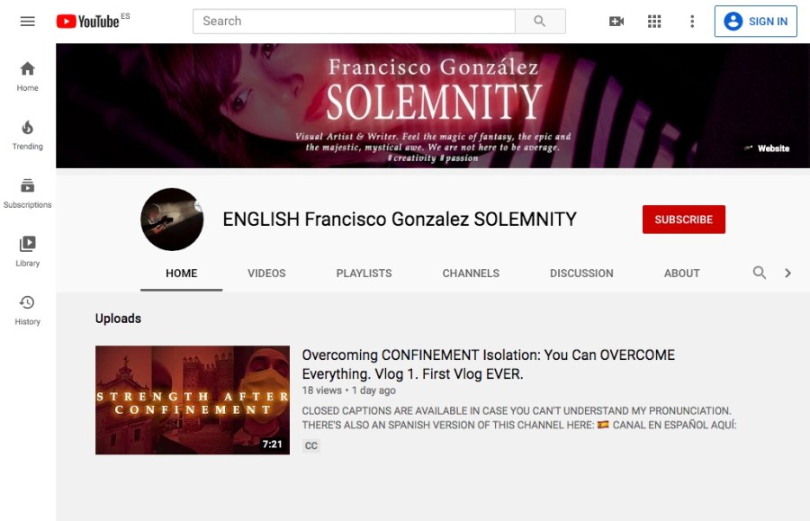 Página principal del canal ENGLISH Francisco González SOLEMNITY