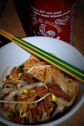 beef pad thai and sriracha