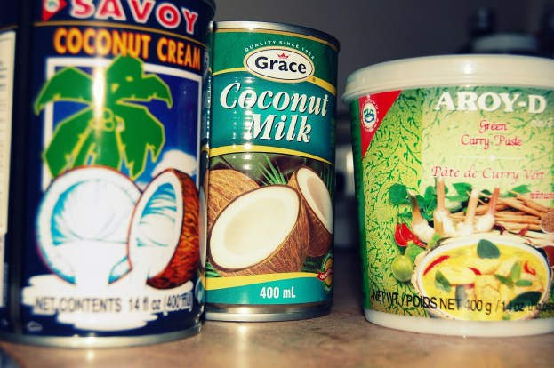 coconut cream, coconut milk and thai green curry paste