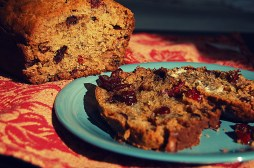 banana bread slices with butter