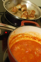 brown meatballs while simmering the sauce