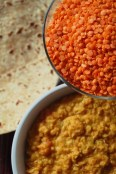red lentil roti and dal