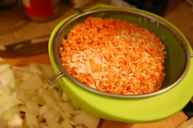 rinsed red lentils and basmati rice