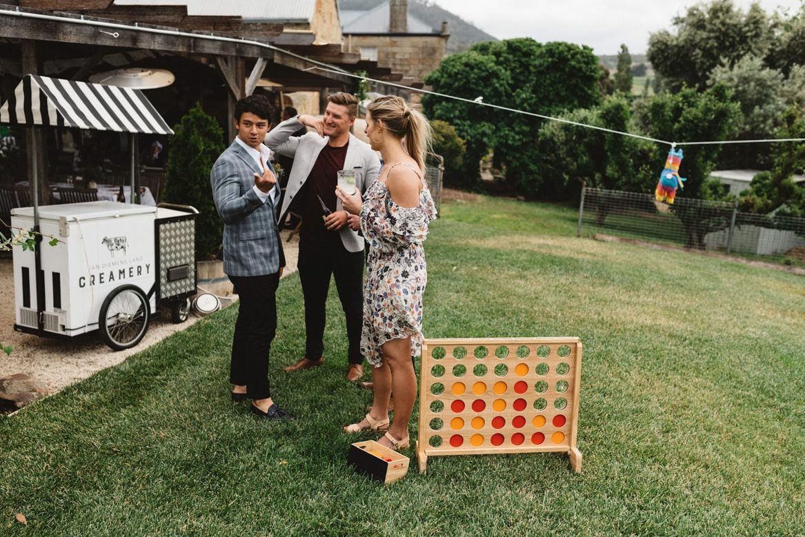 tasmania wedding photographer 4-in-line game