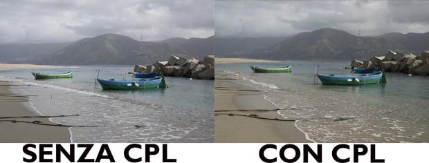 filtro polarizzatore cpl K&F con e senza differenze test