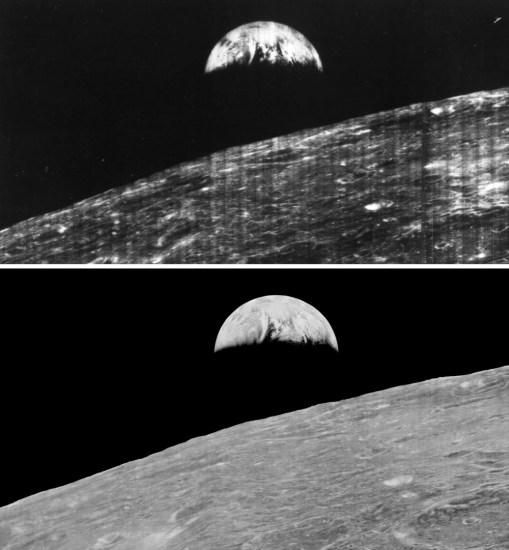 prima fotografia immagine terra ripresa dalla luna processo di digitalizzazione