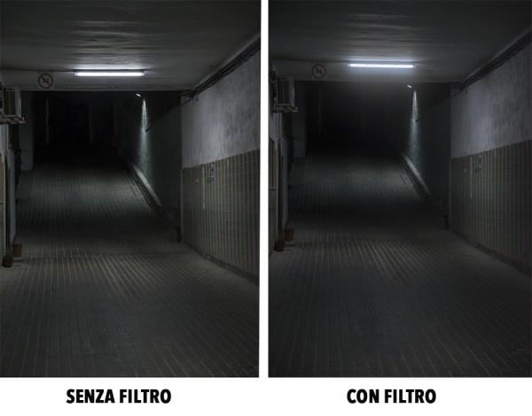 prova filtro KF Black mist luci notturne fotografia effetto nebbia con e senza