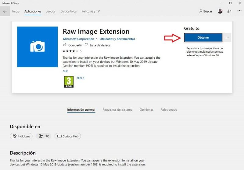 Captura Obtener Raw Image Extension