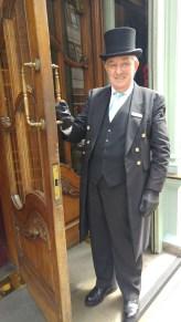uniformed doorman at Fortnum & Mason