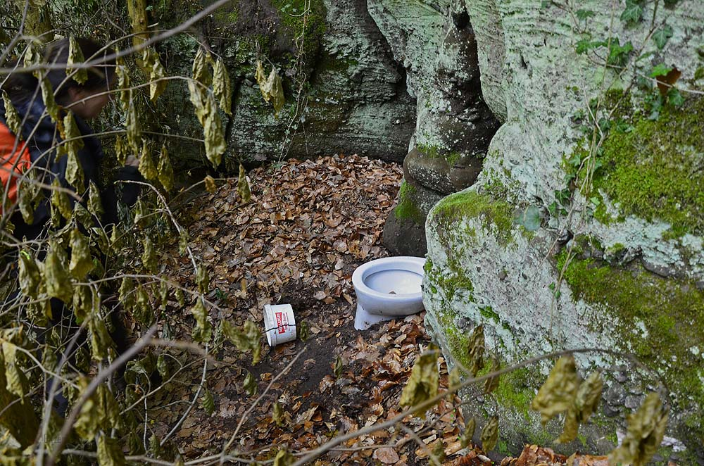 Eine Toilette mitten im Wald zwischen Kordel und Trier