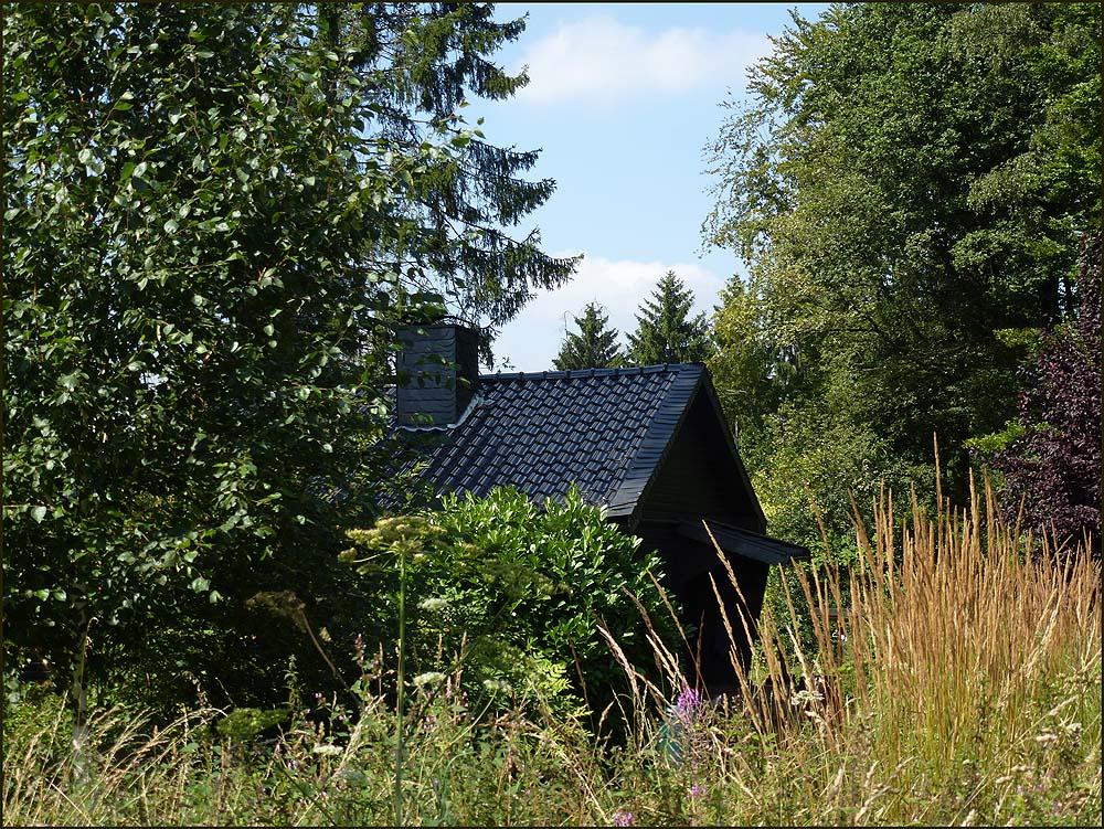 Typisch für unser Bergisches, inmitten der Natur taucht ein Häuschen auf. Fast uneinsehbar der hübsche große Garten drum herum