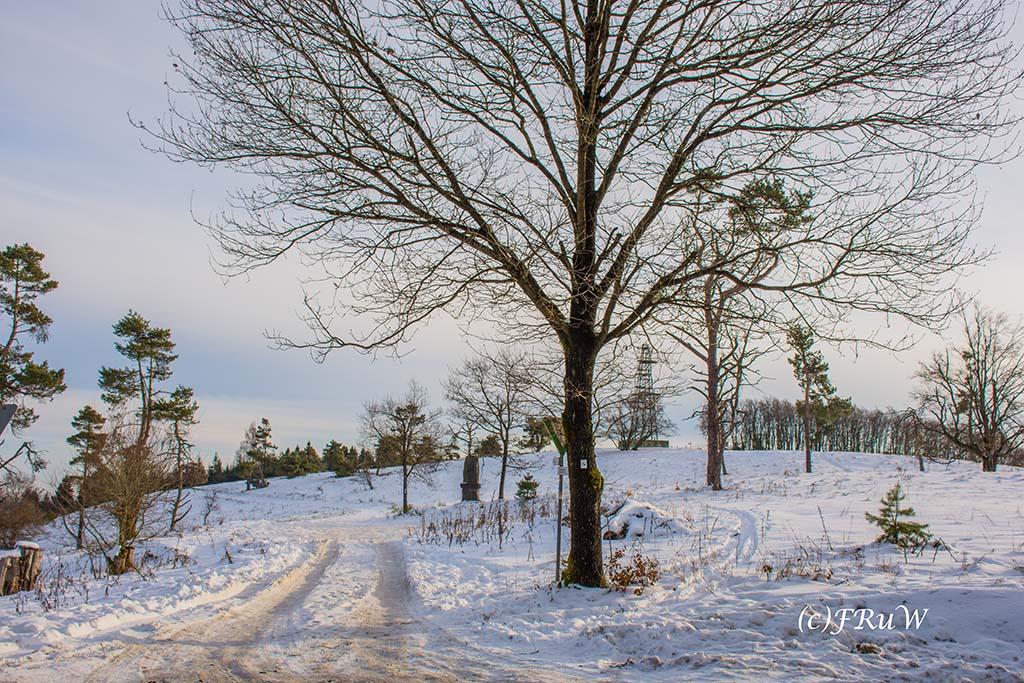 Schnee bedeckte Wege unterhalb des Rassberg in Arft