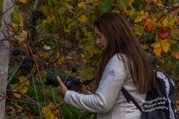 Tanja sucht die richtigen Einstellungen an der Kamera