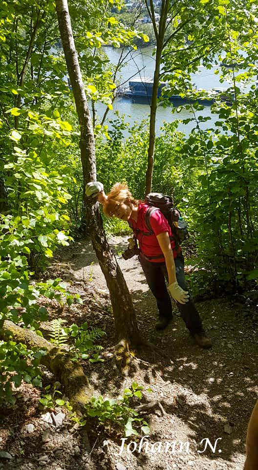 Ute schwächelt - Klettersteig am Mittelrhein in Boppard