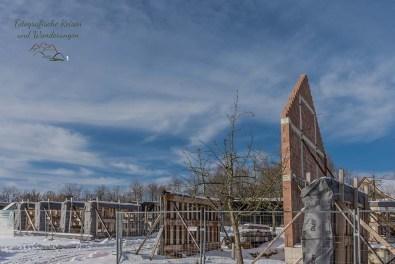 Wiederaufbau eines alten Schulgebäudes aus Waldbröl, Giebelwand