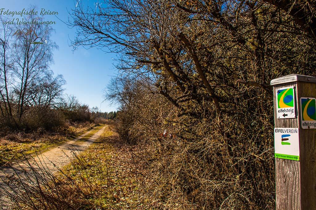 Wegesymbole Eifelsteig - Wandern zwischen Vogelsang und Wollseifen