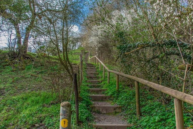 Eine steile Treppe führt hinauf