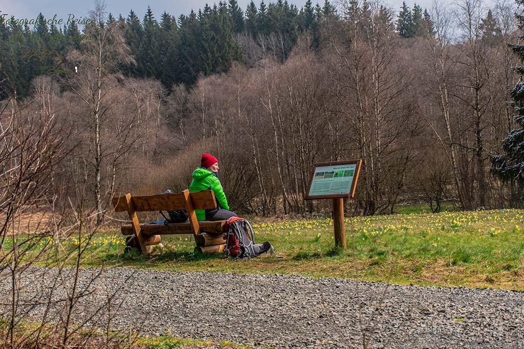Ich auf einer Bank, grüne Jacke, rote Mütze - - Auf der Suche nach den Wilden Narzissen