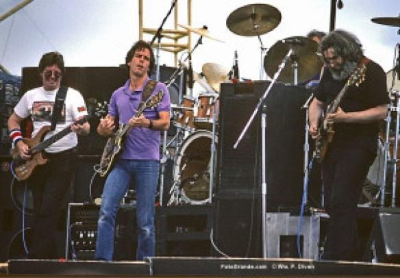 Phil Lesh, Bob Weir, Jerry Garcia; Santa Fe 1983. © William P. Diven.