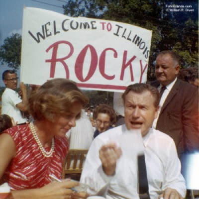 N.Y. Gov. Nelson Rockefeller and wife Happy, Ogle Co., Ill., 1963. © William P. Diven.