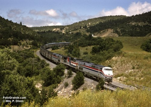 The Southwest Chief follows the Santa Fe Trail down from Raton Pass. Photo © William P. Diven 1995. (Click to enlarge)