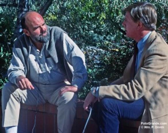 John Ehrlichman interviewed by Kenan Block of KGGM-TV, Santa Fe, 1980. Photo © William P. Diven.