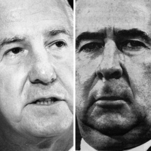 Spiro Agnew (left), Gerald R. Ford Presidential Library and Museum, image No. T25035c1-27; John Mitchell, photo by Steve Northrup in Time Magazine, April 30, 1973, author's collection.