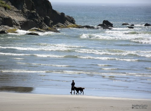 Walking the dog on Short Sand Beach, Smuggler's Cove, Oregon. Photo © William P. Diven.