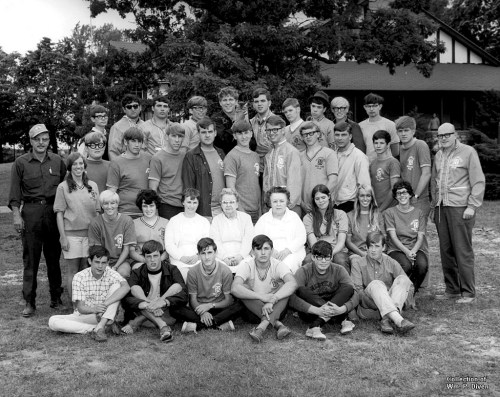 Phantom Lake YMCA Camp staff for the 1968 boys' sessions. Standing in the third row are camp director Sir Gerald Carman (far right), junior counselor Davey Stephens (third from right) and dining hall steward Bill Diven (sixth from right). The name of commercial photographer who took the photo is not known. (Click to enlarge)