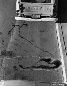 Gunfight scene chalk lines and blood.