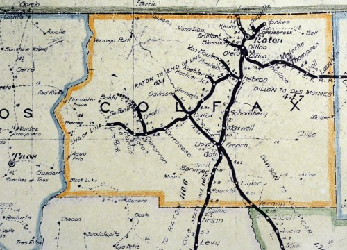 Colfax County railroads shown on a 1924 New Mexico State Corporation Commission map.