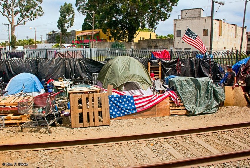 Homeless encampment beside the Union Pacific Railroad, Salinas, Calif., Aug. 6, 2019. Wm. P. Diven photo.
