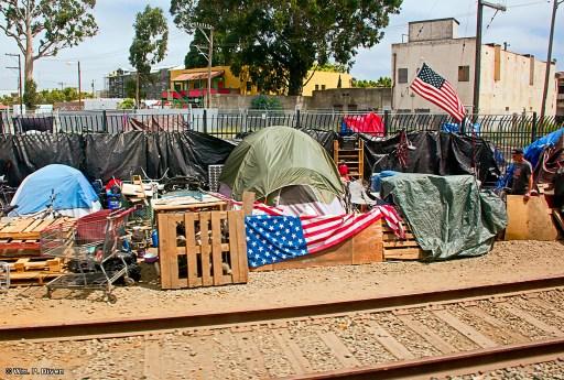 Homeless encampment beside the Union Pacific Railroad, Salinas, Calif., Aug. 6, 2019. Wm. P. Diven photo.