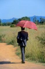 Sudáfrica, Transvaal, hombre con paraguas