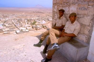 Cabo Verde, Isla de Sal, Espargos, vigilantes, retrato