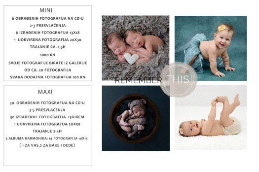 cijene fotografskih usluga Jasmine Cviljak. Cijenik za fotografiranje novorođenčadi i beba.