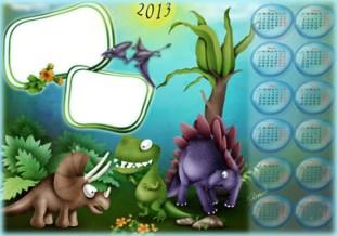 Calendarios Infantil 2013 con dinosaurios