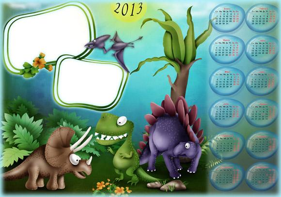 calendario-infantil-2013-con-dinosaurios