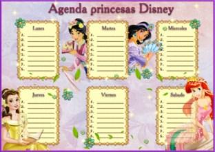 Agenda Disney Infantil. Días de las Semana con Princesas Disney