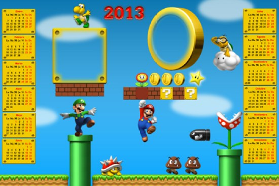 Calendarios Infantiles 2013. New Super Mario Bros