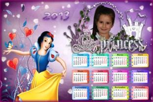 Calendarios Infantiles Disney 2013. Almanaque Blancanieves con marco para fotos