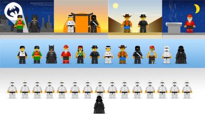 Plantilla PSD para fotomontajes con figuras Lego.
