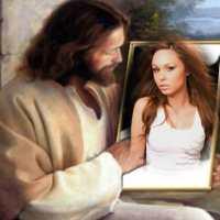 Fotomontaje de Jesús sosteniendo un cuadro