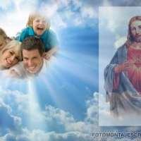 Fotomontaje con Jesús en el Cielo