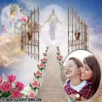 Fotomontaje cristiano en la Puerta del Cielo